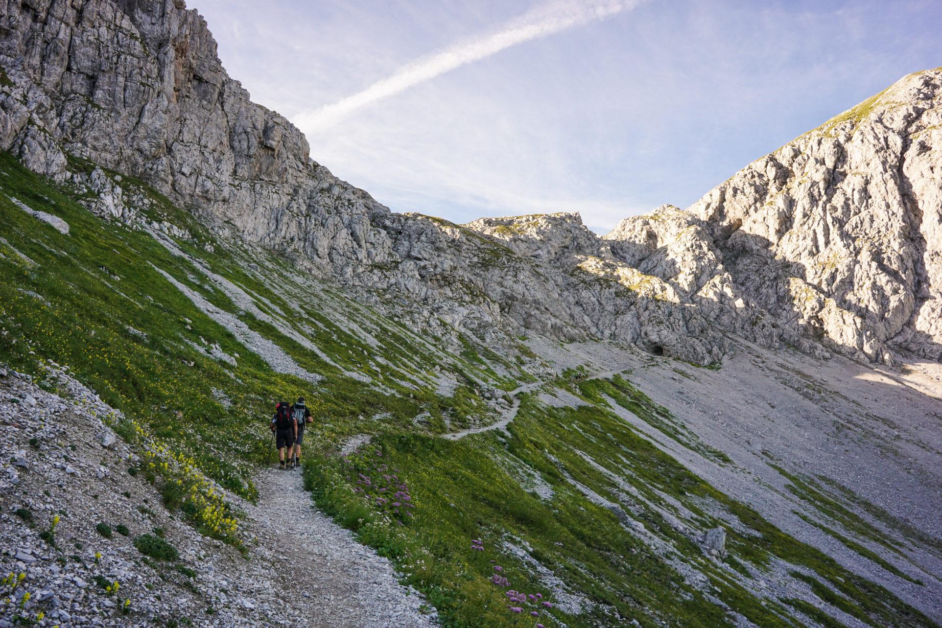 Der Weg zum Steinjöchle hinauf.